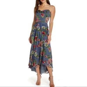 Harlyn Floral Strapless Satin Burnout Dress